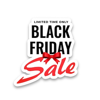 Autocollant de vente vendredi noir sur fond blanc