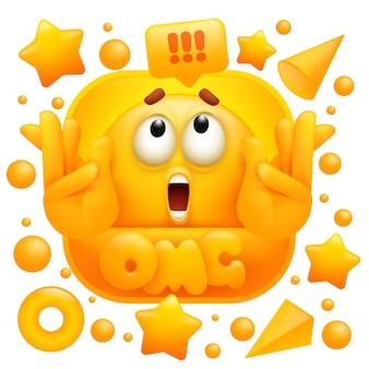Autocollant web omg. caractère emoji jaune dans le style de dessin animé 3d.