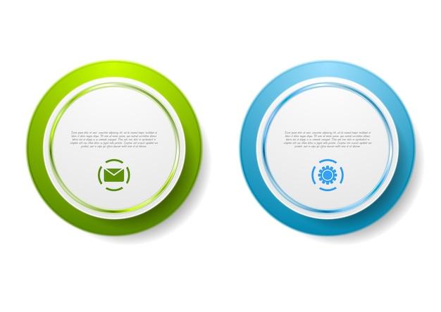 Autocollants abstraits de cercle vert et bleu.