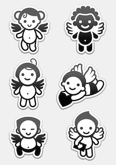 Autocollants anges. définir des icônes, des signes de cupidons de collection