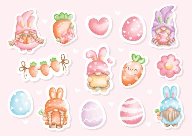 Autocollants aquarelle joyeux jour de pâques avec gnome mignon et éléments de pâques