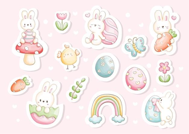 Autocollants aquarelle joyeux jour de pâques avec lapin mignon et éléments de pâques