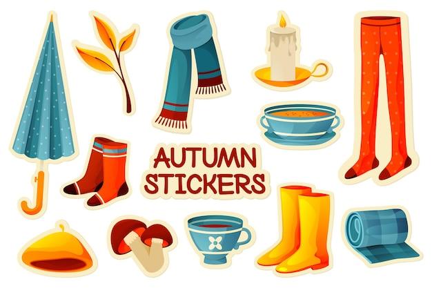 Autocollants d'automne colorés définir des étiquettes d'automne de vecteur