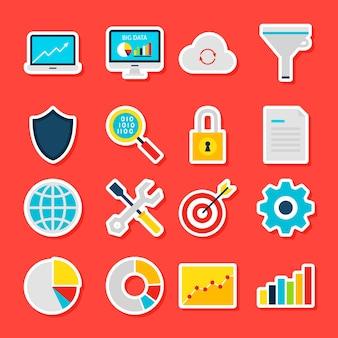 Autocollants big data analytics. illustration vectorielle style plat. collection de symboles de statistiques commerciales.