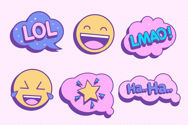 Autocollants avec bulles de chat et emoji