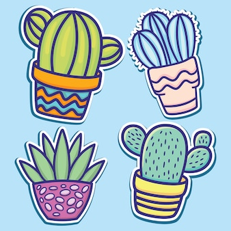Autocollants de cactus de dessin animé mignon dessinés à la main