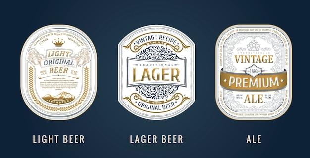 Autocollants de cadres vintage pour étiquettes boissons bouteilles de bière et canettes