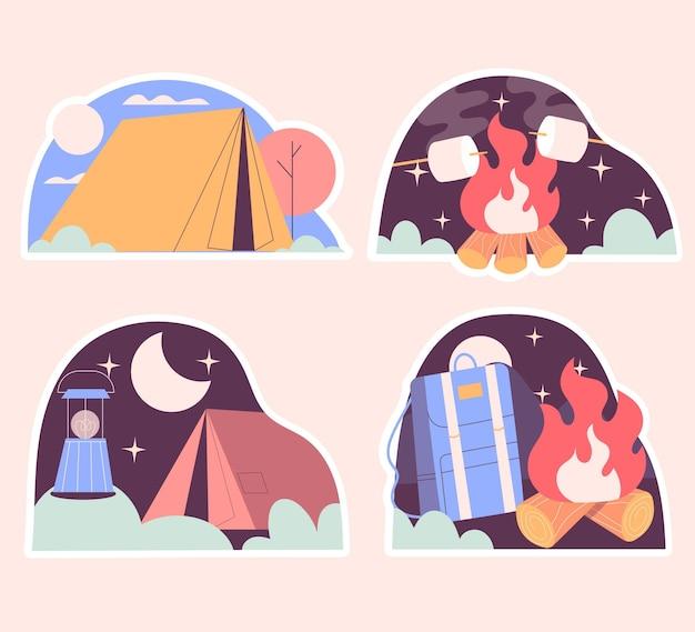 Autocollants de camping naïfs