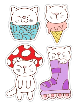 Autocollants de chat drôle dessinés à la main