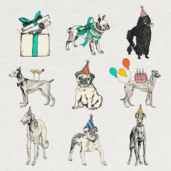 Autocollants de chien vintage dans un ensemble de thèmes d'anniversaire, remixés à partir d'œuvres d'art de moriz jung