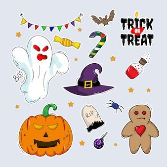 Autocollants de collection de dessin à la main pour halloween avec style doodle