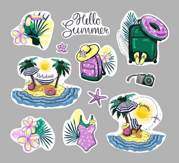 Autocollants colorés d'été. images de voyage dessinées à la main avec calligraphie bonjour l'été.