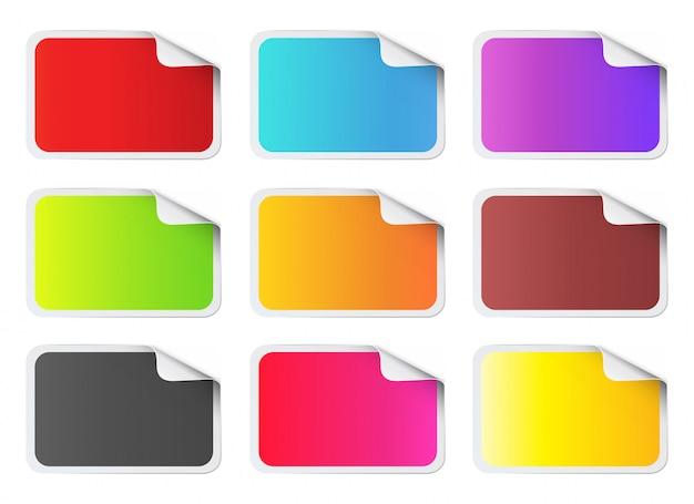 Autocollants colorés de forme rectangulaire