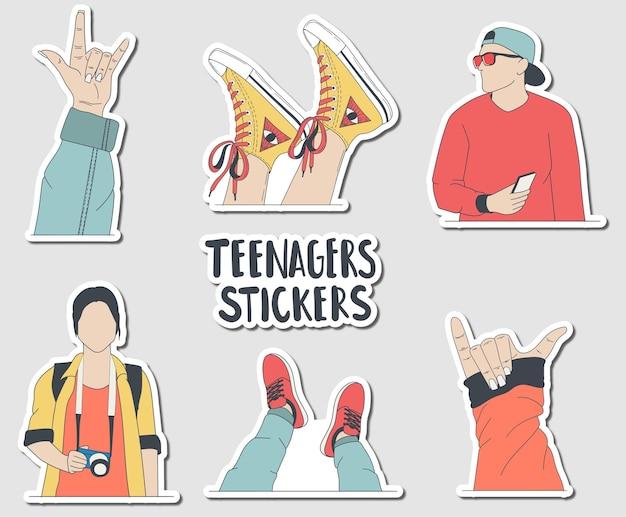 Autocollants colorés pour adolescents esthétiques dessinés à la main