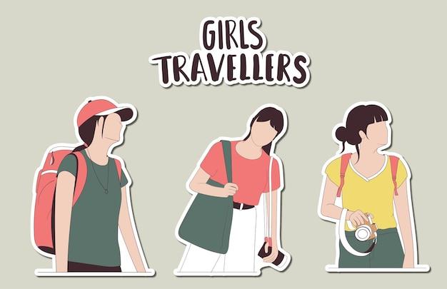 Autocollants colorés de voyageurs fille dessinés à la main