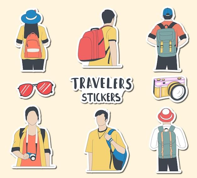 Autocollants colorés de voyageurs pour garçons et filles dessinés à la main