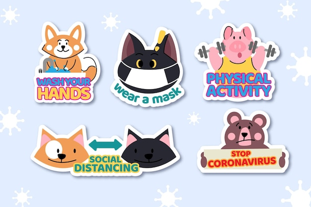 Autocollants de concept de coronavirus avec des animaux mignons