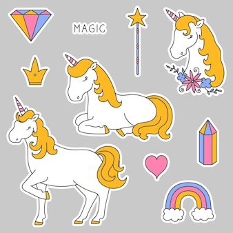 Autocollants avec une couronne de diamant tête de licorne coeur arc-en-ciel licorne et baguette magique