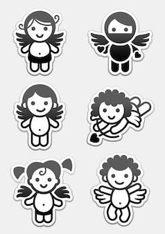 Autocollants cupidons. définir des icônes