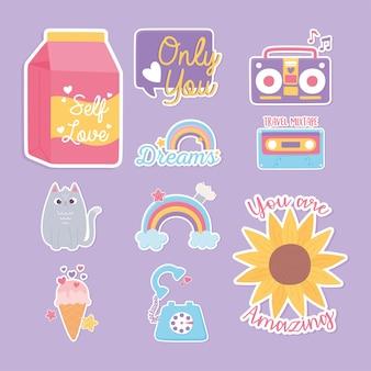 Autocollants décoration dessin animé icônes fleur arc-en-ciel chat crème glacée cassette illustration de téléphone