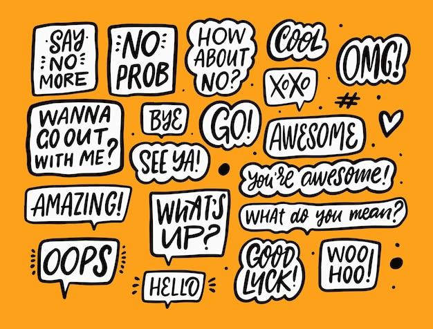 Les autocollants définissent des phrases de calligraphie. texte et mots de motivation. fond orange. illustration vectorielle.