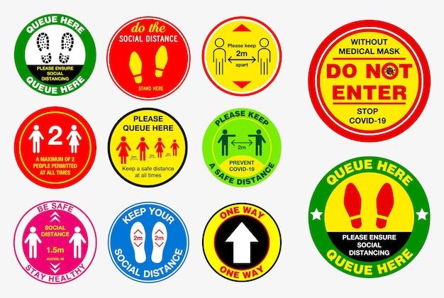 Autocollants de distanciation sociale the floor ou pratiques de santé publique pour covid19 ou santé et sécurité