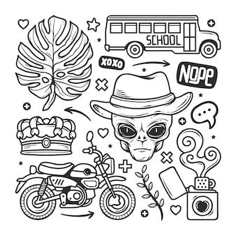Autocollants doodle dessinés à la main