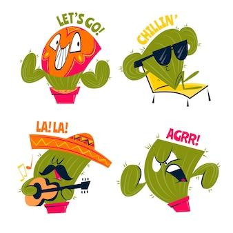 Autocollants drôles de cactus de dessin animé rétro