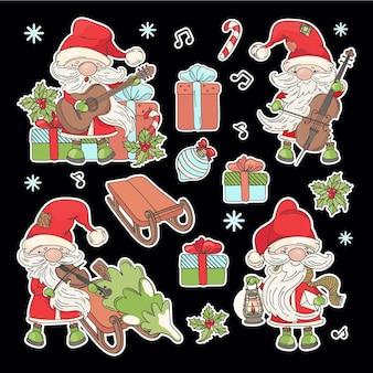 Autocollants du père nol cartoon santa avec des instruments de musique arbre de noël et cadeaux du nouvel an imprimable et traceur coupe clipart vector illustration set