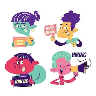 Autocollants d'embauche de dessin animé rétro