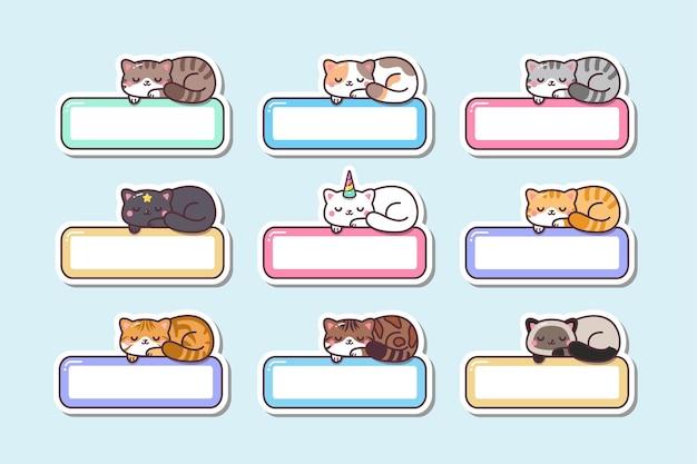 Autocollants d'étiquette de nom d'étiquette de chat endormi de kawaii mignon