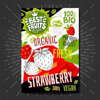 Autocollants d'étiquettes alimentaires définies fruits de style croquis colorés, conception d'emballage de légumes d'épices. fraise, baies, baies. bio, frais, bio, éco. dessiné à la main.