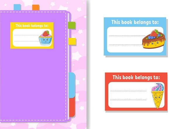 Autocollants d'étiquettes de livres pour enfants la forme rectangulaire