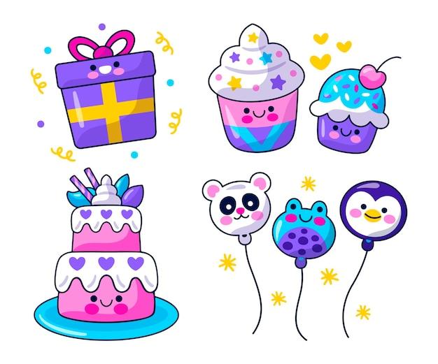 Autocollants de fête d'anniversaire kawaii