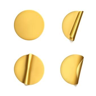 Autocollants froissés ronds dorés avec coin pelable.