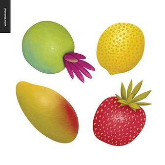 Autocollants de fruits vecteur