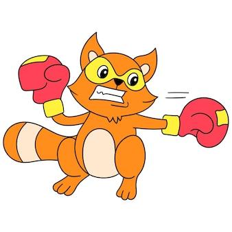 Les autocollants de furet pratiquent la boxe avec vigueur, dessin de griffonnage mignon de personnage. illustration vectorielle