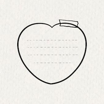 Autocollants goodnotes vecteur élément de notes collantes en forme de coeur dans un style dessiné à la main sur la texture du papier
