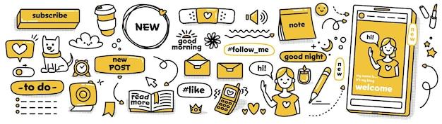 Autocollants de griffonnage modernes pour les médias sociaux. collection de vecteurs. ensemble de patchs le plus mignon. esquissez des icônes mignonnes dans des couleurs jaunes et noires sur fond blanc