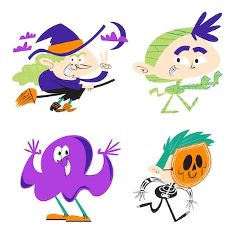 Autocollants d'halloween de dessin animé rétro