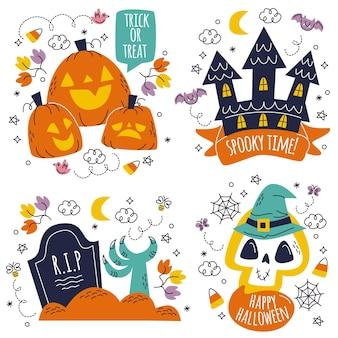 Autocollants halloween dessinés à la main doodle