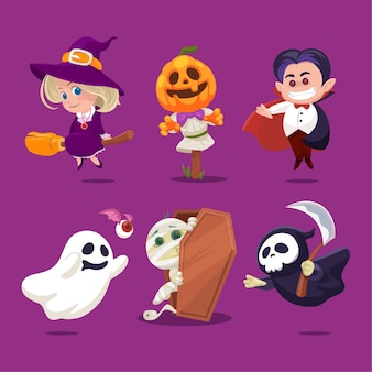 Autocollants d'halloween avec un personnage mignon en costumes effrayants