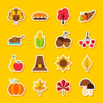 Autocollants de jour de thanksgiving. illustration vectorielle style plat. ensemble de symboles de vacances saisonnières.