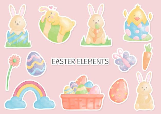Autocollants joyeux jour de pâques avec des éléments de pâques avec illustration aquarelle