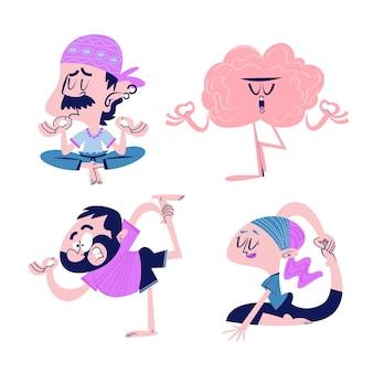 Autocollants de méditation de dessin animé rétro