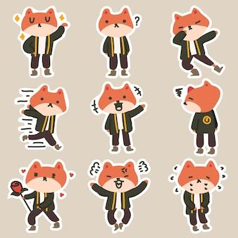Autocollants mignons et adorables d'illustration de griffonnage de renard expressif coloré