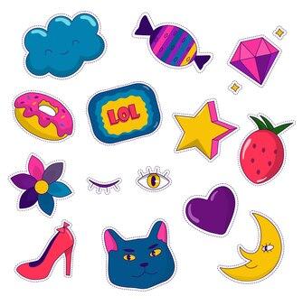 Autocollants mignons avec des éléments de fille image de dessin animé et symboles à la mode