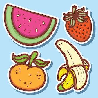 Autocollants mignons de fruits dessinés à la main