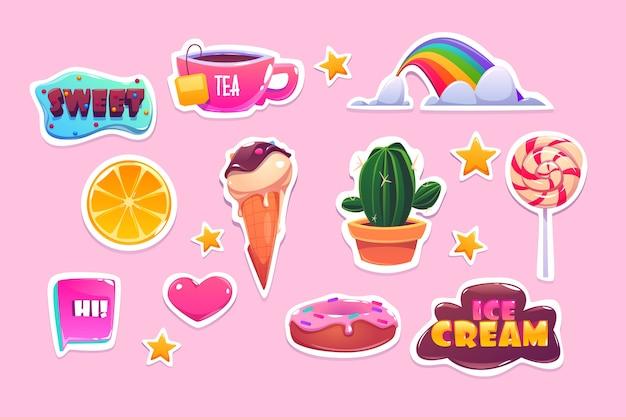 Autocollants mignons sertis d'arc-en-ciel, de coeur, de bonbons et d'étoiles. icônes de dessin animé de beignet, crème glacée, orange et citations. patchs avec symboles amusants, cactus, thé et sucette isolés sur fond rose