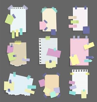 Autocollants de notes en papier. ensemble de papiers à notes vectorielles différents. blanc d'autocollants multicolores. feuilles collantes de différentes couleurs et illustration vectorielle de taille.